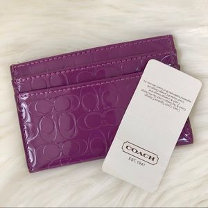 Coach C Logo Flat Card Case Purple Patent Leather